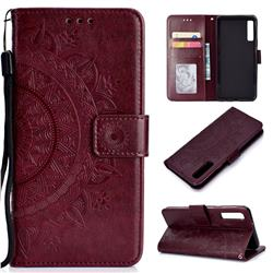 Intricate Embossing Datura Leather Wallet Case for Samsung Galaxy A7 (2018) - Brown