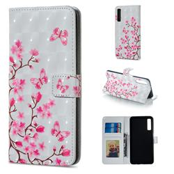 Butterfly Sakura Flower 3D Painted Leather Phone Wallet Case for Samsung Galaxy A7 (2018)