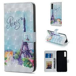 Paris Tower 3D Painted Leather Phone Wallet Case for Samsung Galaxy A7 (2018)
