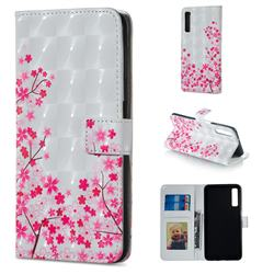 Cherry Blossom 3D Painted Leather Phone Wallet Case for Samsung Galaxy A7 (2018)