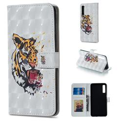 Toothed Tiger 3D Painted Leather Phone Wallet Case for Samsung Galaxy A7 (2018)