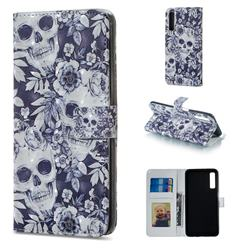 Skull Flower 3D Painted Leather Phone Wallet Case for Samsung Galaxy A7 (2018)