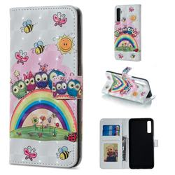 Rainbow Owl Family 3D Painted Leather Phone Wallet Case for Samsung Galaxy A7 (2018)