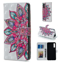 Mandara Flower 3D Painted Leather Phone Wallet Case for Samsung Galaxy A7 (2018)