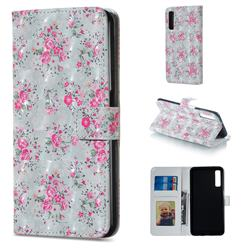 Roses Flower 3D Painted Leather Phone Wallet Case for Samsung Galaxy A7 (2018)