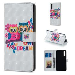 Couple Owl 3D Painted Leather Phone Wallet Case for Samsung Galaxy A7 (2018)