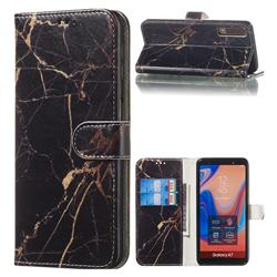 Black Gold Marble PU Leather Wallet Case for Samsung Galaxy A7 (2018) A750