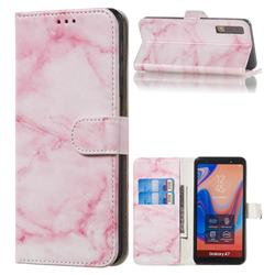 Pink Marble PU Leather Wallet Case for Samsung Galaxy A7 (2018) A750