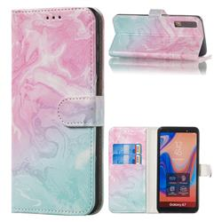 Pink Green Marble PU Leather Wallet Case for Samsung Galaxy A7 (2018) A750