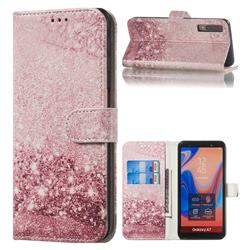 Glittering Rose Gold PU Leather Wallet Case for Samsung Galaxy A7 (2018) A750