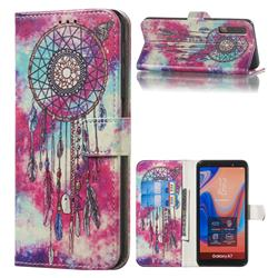 Butterfly Chimes PU Leather Wallet Case for Samsung Galaxy A7 (2018) A750