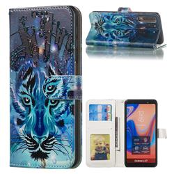 Ice Wolf 3D Relief Oil PU Leather Wallet Case for Samsung Galaxy A7 (2018) A750