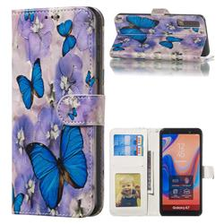 Purple Flowers Butterfly 3D Relief Oil PU Leather Wallet Case for Samsung Galaxy A7 (2018) A750