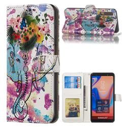 Flower Elephant 3D Relief Oil PU Leather Wallet Case for Samsung Galaxy A7 (2018) A750