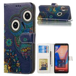 Folk Owl 3D Relief Oil PU Leather Wallet Case for Samsung Galaxy A7 (2018) A750
