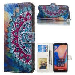 Mandala Flower 3D Relief Oil PU Leather Wallet Case for Samsung Galaxy A7 (2018) A750