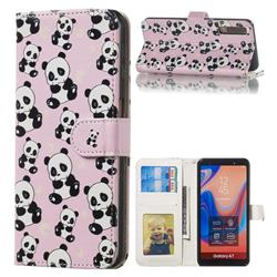 Cute Panda 3D Relief Oil PU Leather Wallet Case for Samsung Galaxy A7 (2018) A750