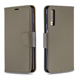Classic Luxury Litchi Leather Phone Wallet Case for Samsung Galaxy A7 (2018) A750 - Gray