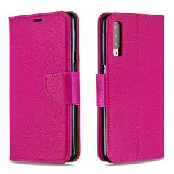 Classic Luxury Litchi Leather Phone Wallet Case for Samsung Galaxy A7 (2018) A750 - Rose