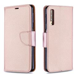 Classic Luxury Litchi Leather Phone Wallet Case for Samsung Galaxy A7 (2018) A750 - Golden