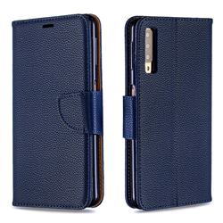 Classic Luxury Litchi Leather Phone Wallet Case for Samsung Galaxy A7 (2018) A750 - Blue