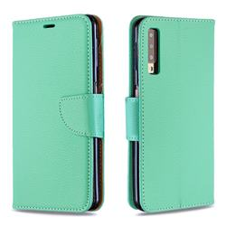 Classic Luxury Litchi Leather Phone Wallet Case for Samsung Galaxy A7 (2018) A750 - Green