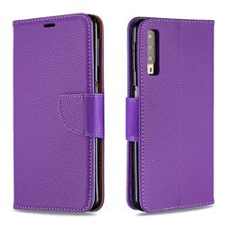 Classic Luxury Litchi Leather Phone Wallet Case for Samsung Galaxy A7 (2018) A750 - Purple