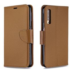 Classic Luxury Litchi Leather Phone Wallet Case for Samsung Galaxy A7 (2018) A750 - Brown