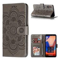 Intricate Embossing Datura Solar Leather Wallet Case for Samsung Galaxy A7 (2018) A750 - Gray
