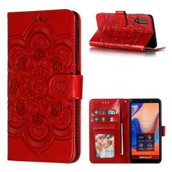 Intricate Embossing Datura Solar Leather Wallet Case for Samsung Galaxy A7 (2018) A750 - Red