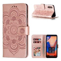 Intricate Embossing Datura Solar Leather Wallet Case for Samsung Galaxy A7 (2018) A750 - Rose Gold
