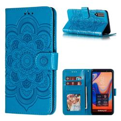 Intricate Embossing Datura Solar Leather Wallet Case for Samsung Galaxy A7 (2018) A750 - Blue