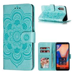 Intricate Embossing Datura Solar Leather Wallet Case for Samsung Galaxy A7 (2018) A750 - Green