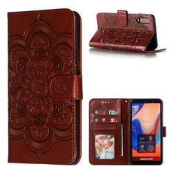 Intricate Embossing Datura Solar Leather Wallet Case for Samsung Galaxy A7 (2018) A750 - Brown