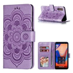 Intricate Embossing Datura Solar Leather Wallet Case for Samsung Galaxy A7 (2018) A750 - Purple