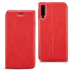 Ultra Slim Retro Simple Magnetic Sucking Leather Flip Cover for Samsung Galaxy A7 (2018) A750 - Red