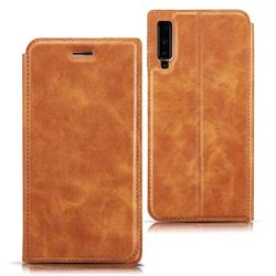 Ultra Slim Retro Simple Magnetic Sucking Leather Flip Cover for Samsung Galaxy A7 (2018) A750 - Brown