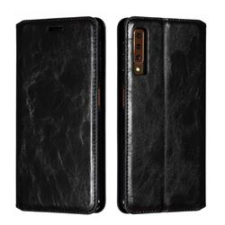 Retro Slim Magnetic Crazy Horse PU Leather Wallet Case for Samsung Galaxy A7 (2018) A750 - Black
