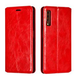 Retro Slim Magnetic Crazy Horse PU Leather Wallet Case for Samsung Galaxy A7 (2018) A750 - Red