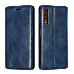 Retro Slim Magnetic Crazy Horse PU Leather Wallet Case for Samsung Galaxy A7 (2018) A750 - Blue