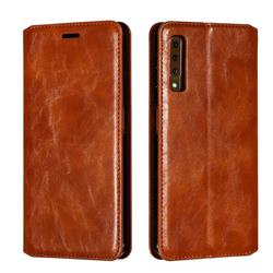 Retro Slim Magnetic Crazy Horse PU Leather Wallet Case for Samsung Galaxy A7 (2018) A750 - Brown