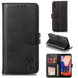 Embossing Happy Cat Leather Wallet Case for Samsung Galaxy A7 (2018) A750 - Black