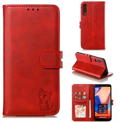 Embossing Happy Cat Leather Wallet Case for Samsung Galaxy A7 (2018) A750 - Red