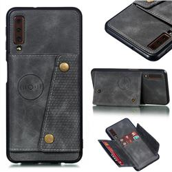 Retro Multifunction Card Slots Stand Leather Coated Phone Back Cover for Samsung Galaxy A7 (2018) A750 - Gray