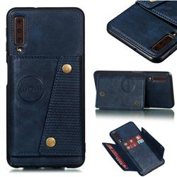 Retro Multifunction Card Slots Stand Leather Coated Phone Back Cover for Samsung Galaxy A7 (2018) A750 - Blue