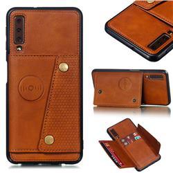 Retro Multifunction Card Slots Stand Leather Coated Phone Back Cover for Samsung Galaxy A7 (2018) A750 - Brown