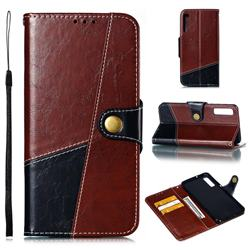 Retro Magnetic Stitching Wallet Flip Cover for Samsung Galaxy A7 (2018) A750 - Dark Red