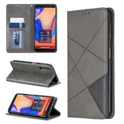 Prismatic Slim Magnetic Sucking Stitching Wallet Flip Cover for Samsung Galaxy A7 (2018) A750 - Gray