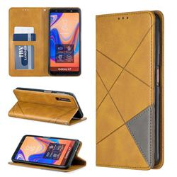 Prismatic Slim Magnetic Sucking Stitching Wallet Flip Cover for Samsung Galaxy A7 (2018) A750 - Yellow