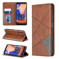 Prismatic Slim Magnetic Sucking Stitching Wallet Flip Cover for Samsung Galaxy A7 (2018) A750 - Brown